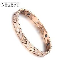 NHGBFT חדש עלה זהב צבע נירוסטה צמיד עבור Mens נשים קריסטל שחור אבן המרה בריא תנועה רפואי צמיד