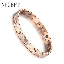 NHGBFT New Rose Gold Color Stainless Steel Bracelet For Mens Womens Crystal Black Gallstone Healthy Motion Medical Bracelet