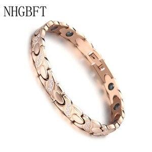 Image 1 - NHGBFT pulsera de acero inoxidable de Color dorado para hombre y mujer, brazalete de cristal negro con movimiento saludable, Color rosa nuevo