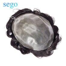 SEGO 8 ''x 10'' плотность 130% тонкая кожа PU мужской парик натуральный волос человеческие волосы парик заменить мужчин t система не Реми индийские волосы