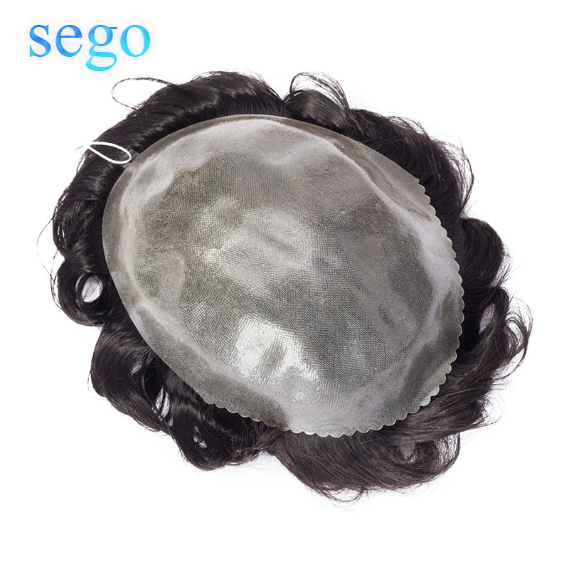 SEGO 8''x10'' Density 130% Thin Skin PU Men Toupee Natural Hairline Human Hair Wig Replacement System Non-remy Indian Hair