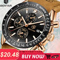 Relógios masculinos benyar moda quartzo relógio masculino à prova dmilitary água relógio esporte militar homem casual couro cronógrafo relogio masculino