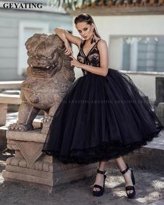 Image 2 - Vintage Lace 1950s Black Ball Gown Prom Dresses 2021 Sexy V Neck Illusion Puffy Tulle Tea Length Evening Gowns Girls Party Dress