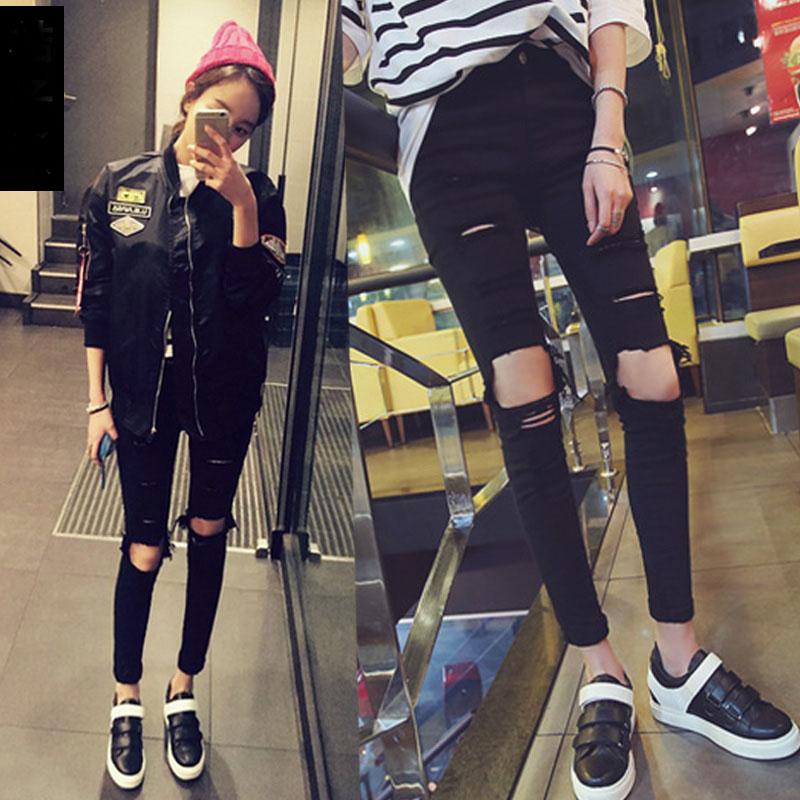 E-lzunion Summer Hole Ripped Jeans Women Jeggings Cool Denim High Waist Skinny Jeans Pants Pencil Trousers Black