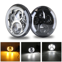 7 Round Headlights 7 inch Round LED Headlights H4 Halo Ring Amber Turn Signal Headlamp For Jeep Wrangler CT TJ JK FJ Led