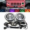 7 ''DRL фары мигающие RGB ангельские глазки с Bluetooth управлением для Jeep Wrangler JK 7 дюймов 60 Вт круглые фары с rgb-кольцом Halo