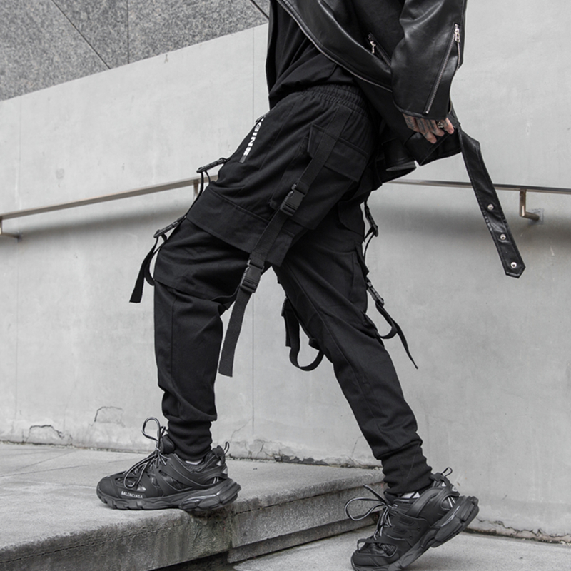NEW Side Zipper Pockets Darkly Style Ribbons Hip Hop Men 39 s Cargo Sweatpants Joggers Trousers Fashion Full Length Pencil Pants in Harem Pants from Men 39 s Clothing