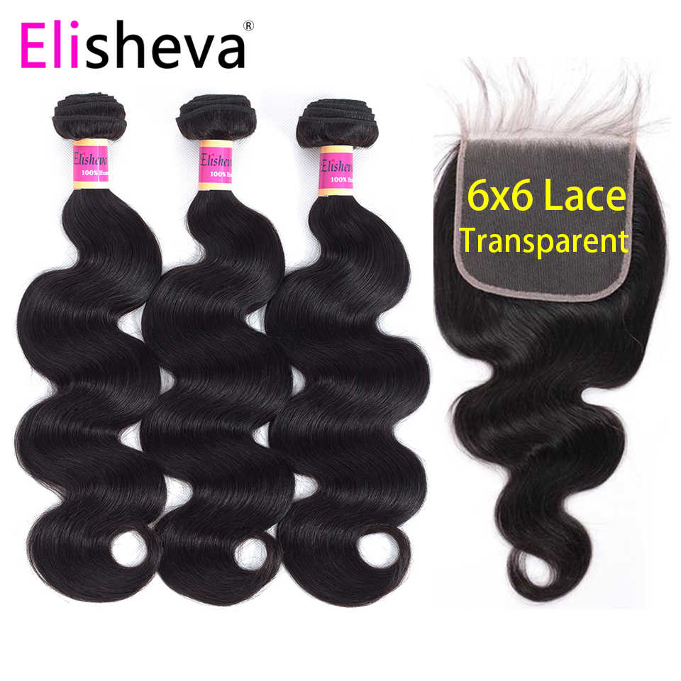 Transparent Lace Body Wave 3 Bundles With Closure 6x6 4x4 Remy Natural Black Color Peruvian Human Hair Middle Free Three Part