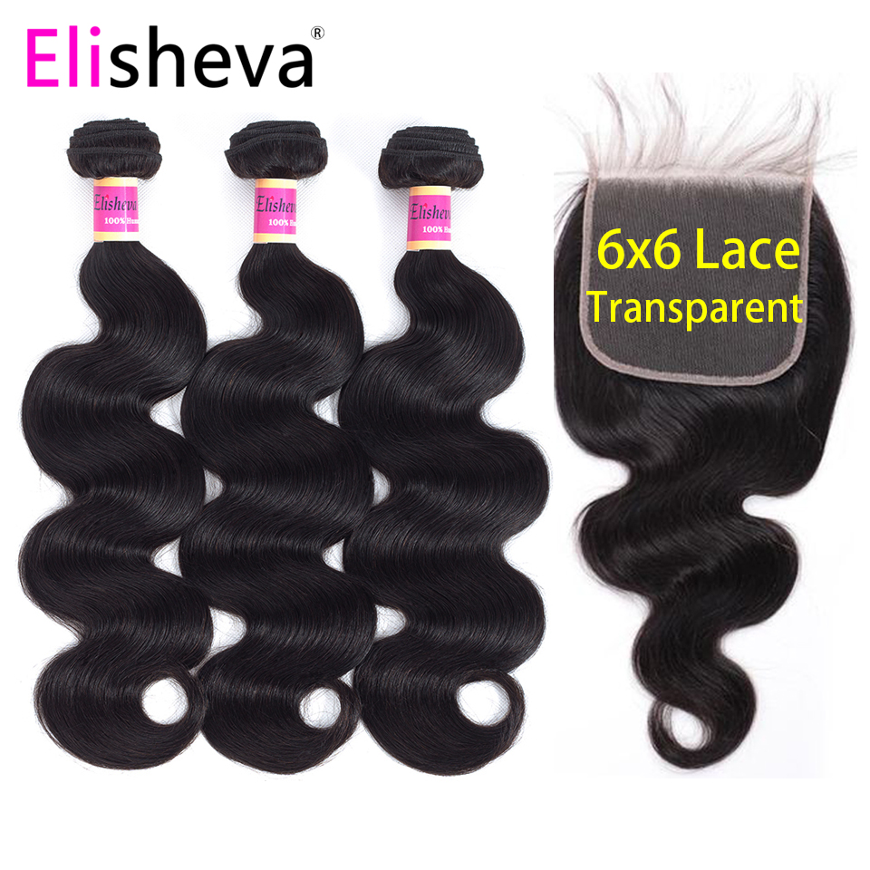 Transparent Lace Body Wave 3 Bundles With Closure 6x6 4x4 Remy Natural Black Color Peruvian Human Hair Middle Free Three Part-in 3/4 Bundles with Closure from Hair Extensions & Wigs