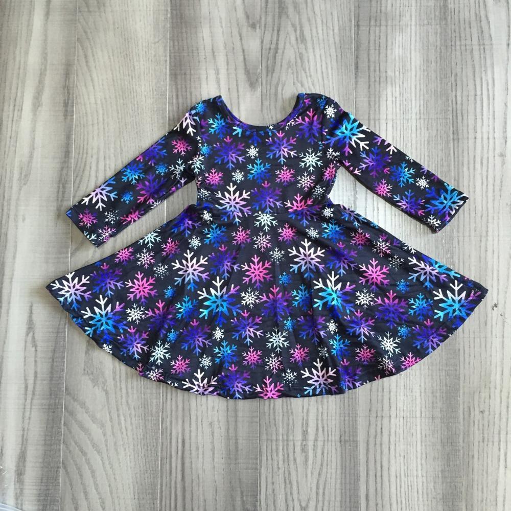 Girlymax Christmas fall/winter baby girls cotton chlidren clothes milk silk twirl dress knee length navy snowflake 1