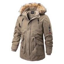 Men Jacket Coat Warm Winter Long Men's New Velvet Plus Casual Solid Hat Removable High-Quality