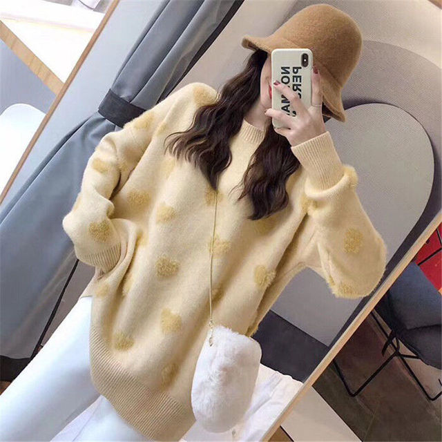Sweater women's loose jacket fall winter love pullover long sleeve lazy style net red fashion retro knit top 2020 New hot sale 6