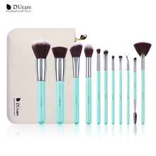 DUcare makeup brushes 11PCS professional brushes light green brush set high quality brush with bag portable make up brushes stylish 18 pcs portable fiber makeup brushes set with pu brush bag