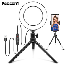 """LED Ring Light 6"""" with Tripod Stand Ring Lamp Phone Holder Photographic Lighting For Live Stream YouTube Video Makeup Desktop"""