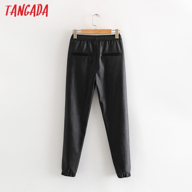 Tangada women black PU leather pants stretch waist drawstring tie pockets female autumn winter elegant trousers HY02 2