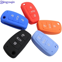 Jingyuqin 3 Knoppen Auto Silicone Key Cover Styling Case Cover Fob Shell Voor Audi A1 A3 Q3 Q7 R8 A6L tt Key Case Vier Auto Styling