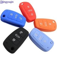 Jingyuqin 3 أزرار سيارة سيليكون مفتاح غطاء التصميم غطاء علبة فوب شل لأودي A1 A3 Q3 Q7 R8 A6L TT مفتاح حافظة أربعة سيارة التصميم