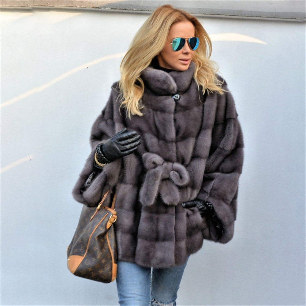 TOPFUR 2019 Fashion New Winter Natural Fur Coat Women Dark Grey Mink Coat With Stand Collar Batwing Sleeves Large Size Overcoat
