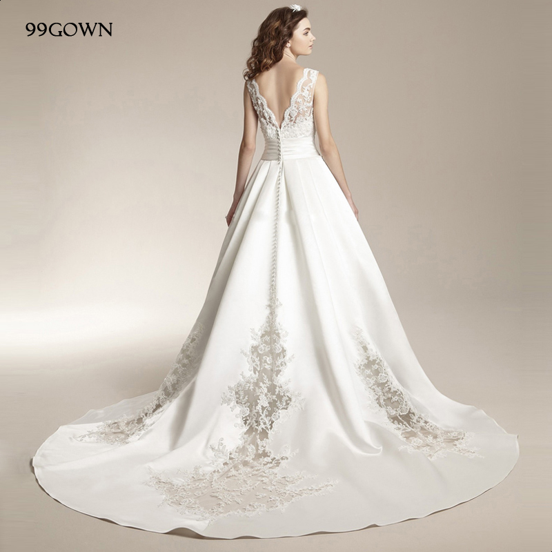99GOWN 2019 Luxury Satin Weddiing Ceremony Dress Sexy Backless Lace-Up Chapel Train Long Dresses Embroidery Wedding Gown