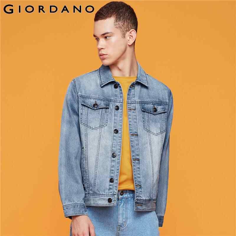 Giordano Homens Jaqueta Jeans Bolsos Casaco De Poliéster do Algodão Dos Homens de Carga Moda Denim Casaco Jaqueta Masculino 01079728