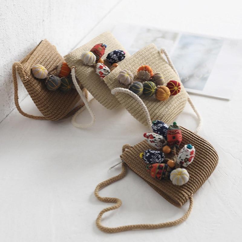 Newly Hat Bag Set Wide Brim Straw Hats Cap Single Shoulder Bag For Kids Spring Summer Beach SD669
