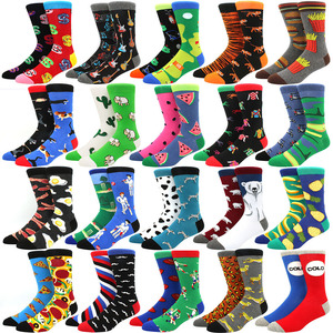 High Quality Combed Cotton Socks food Pattern Long Tube Funny Happy Men Socks Novelty Skateboard Crew Casual Crazy Socks