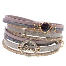 Женский кожаный браслет многослойные браслеты для женщин