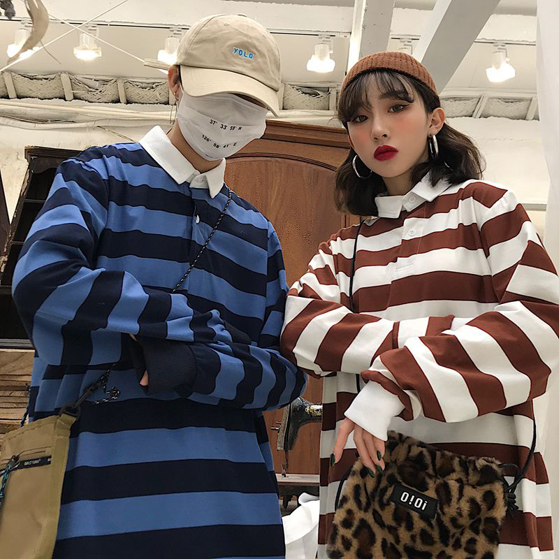 Vintage Striped  Print Man T Shirt High Quality Turn-down Collar Short Sleeve Oversized 2019 Fashion Couple Women Korean Clothes