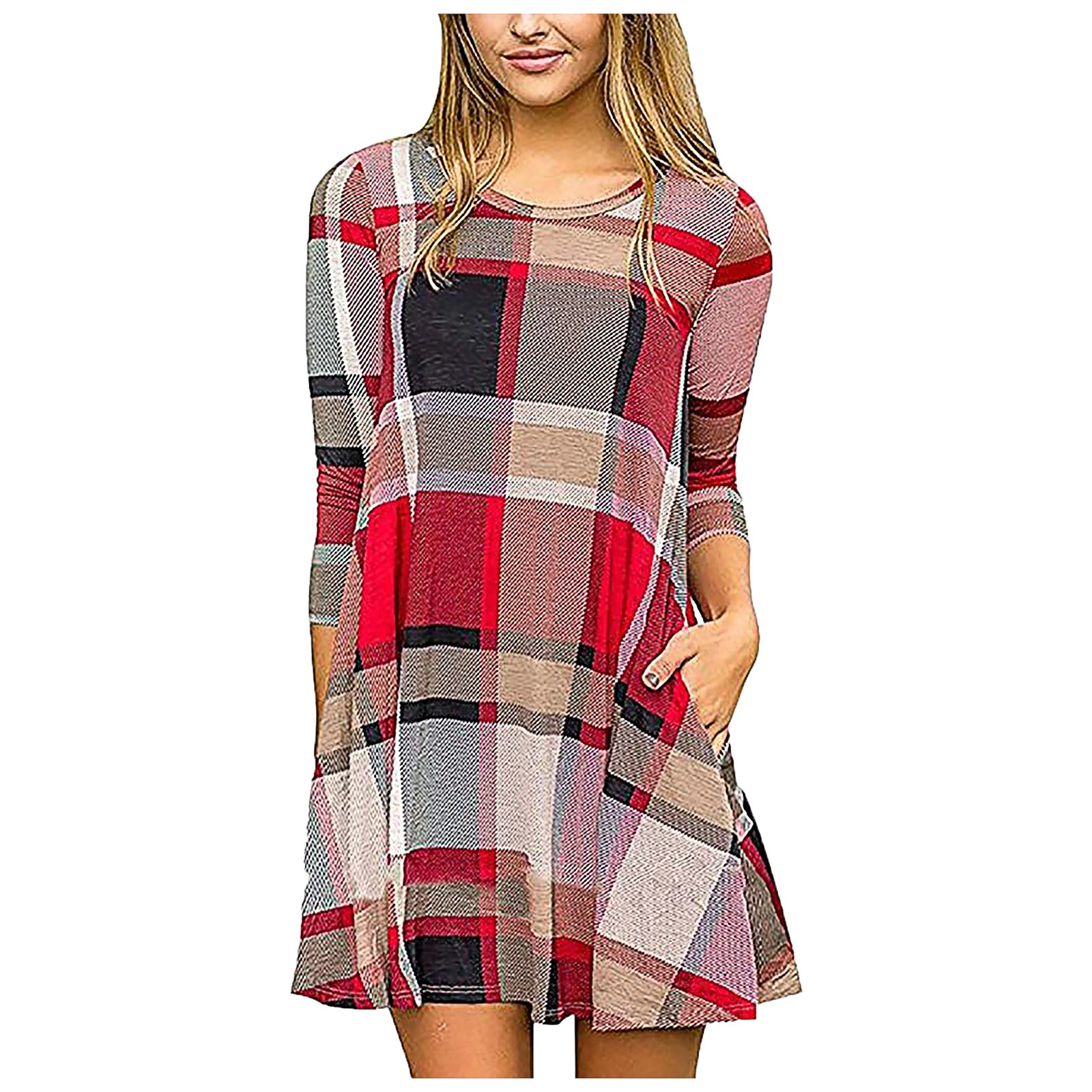 4# Women's Casual  Loose Fit Tunic Dress Long Sleeve O Neck Plaid Color Block vestido de mujer платья Women's dress robe femme