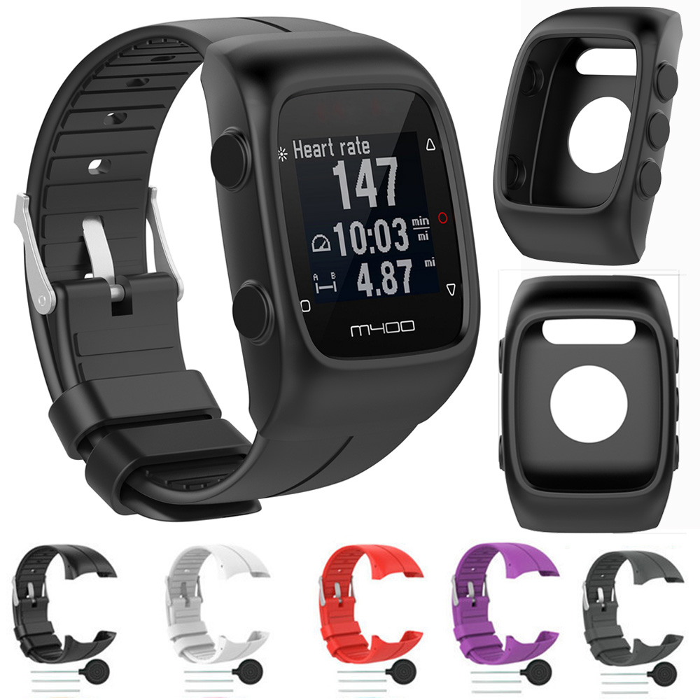 For Polar M430 M400 Silicone Wrist Band Strap Band Bracelet Shockproof Soft TPU PProtective Case Cover Replacement Watchband