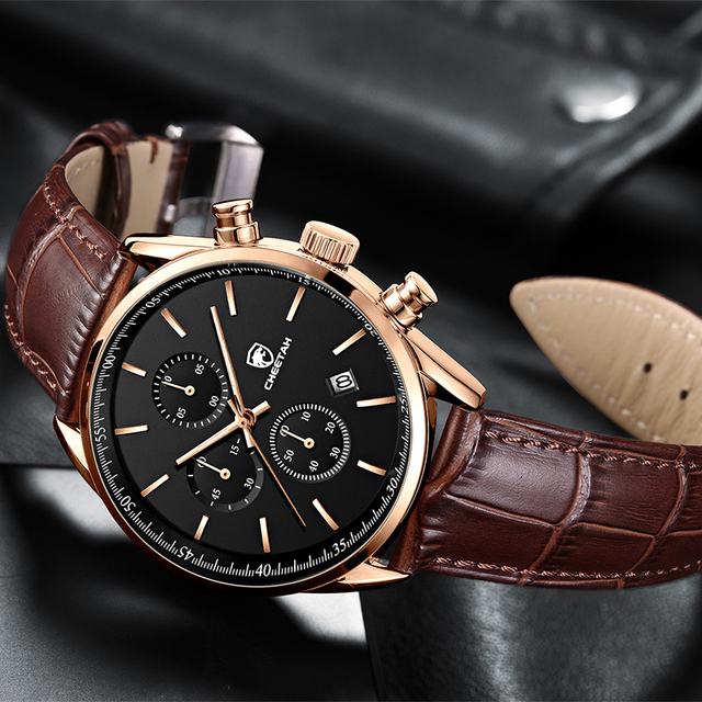 2021 New Men Watch CHEETAH Waterproof Quartz Men Watches Chronograph Sport Wristwatch Leather Business Male Clock Watch With Box 2