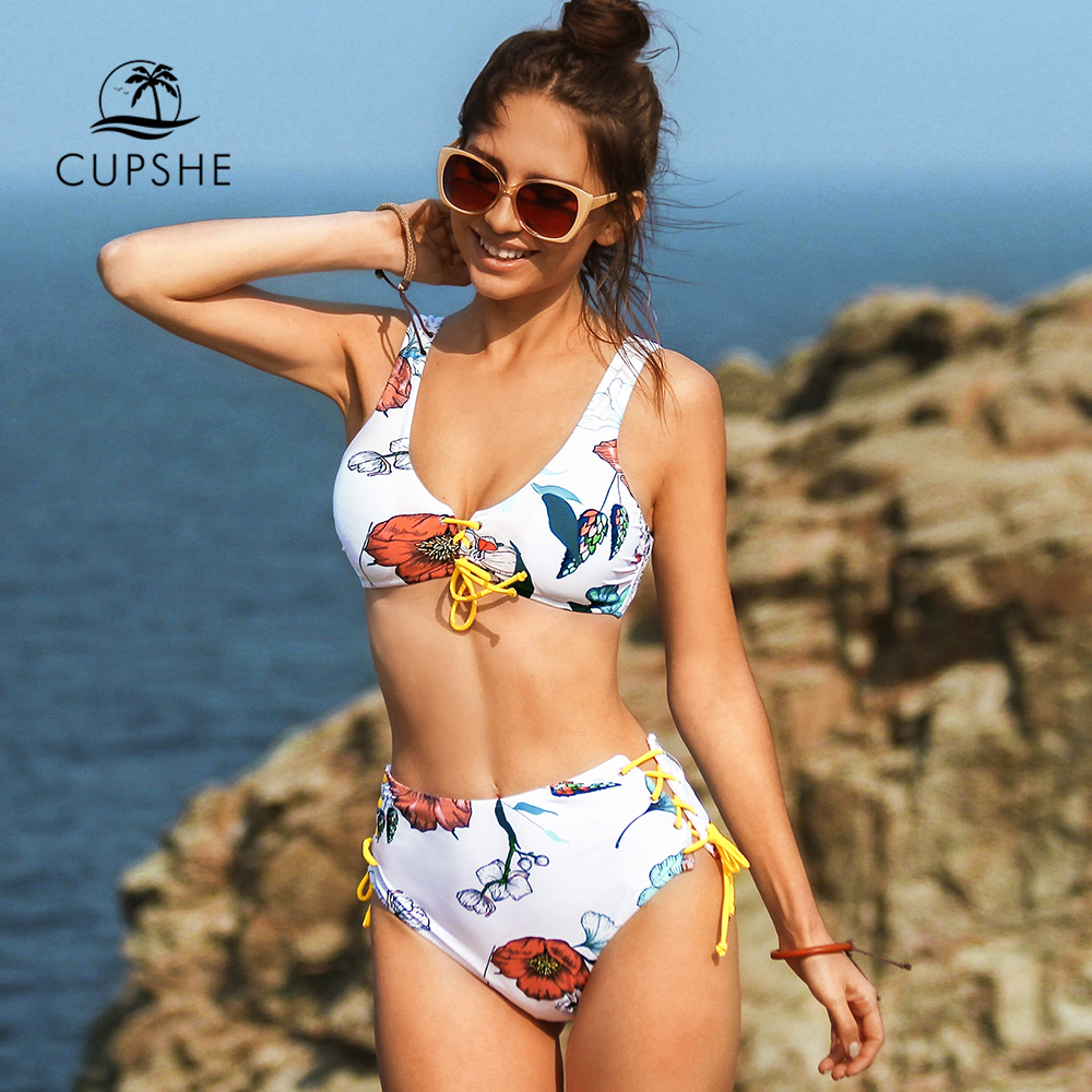 CUPSHE Floral Lace Up High-Waist Reversible Bikini Sets Sexy Tank Top Swimsuit Two Pieces Swimwear Women 2020 Beach Bathing Suit