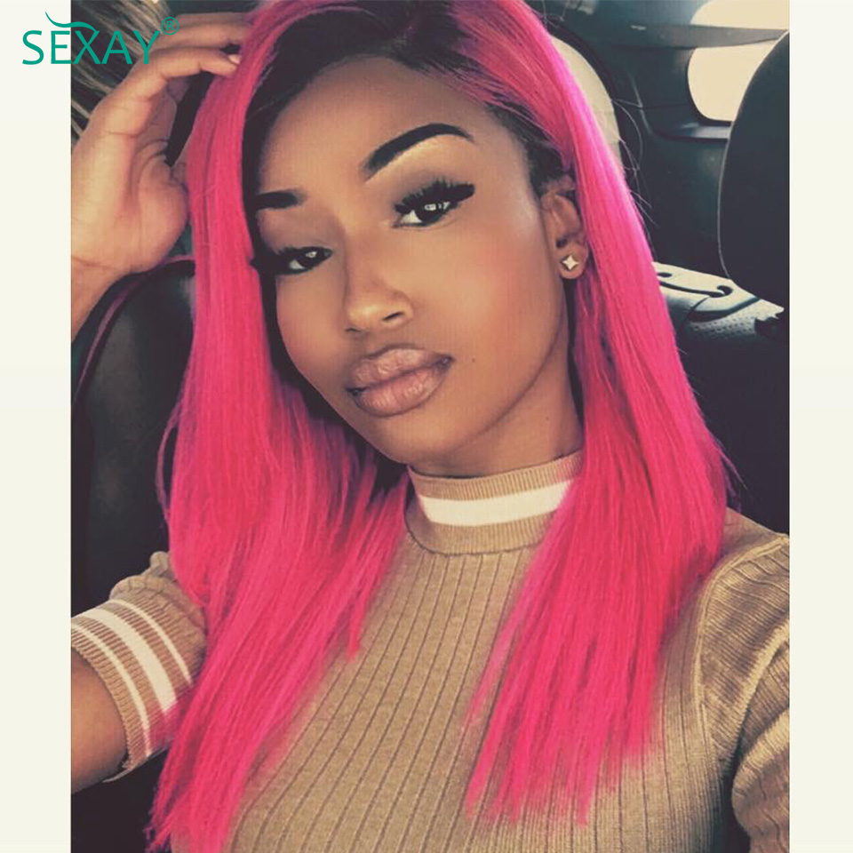 SEXAY Pink Wig Human Hair 4x4 Lace Closure Wigs For Women Malaysian Straight Hair Pre Colored 1b/Pink 4*4 Ombre Human Hair Wig