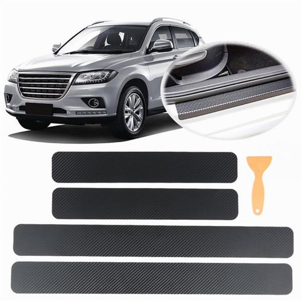 Usually 4PCS Car Threshold Protection Sticker On Car 3D Carbon Fiber Sticker For Tesla Peugeot Ford Mercedes For Car Accessories