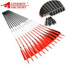 Linkboy tiro com arco de carbono setas id6.2mm 5 polegada turquia pena seta ponto dicas 75gr tradicional arco recurvo caça arco e flech