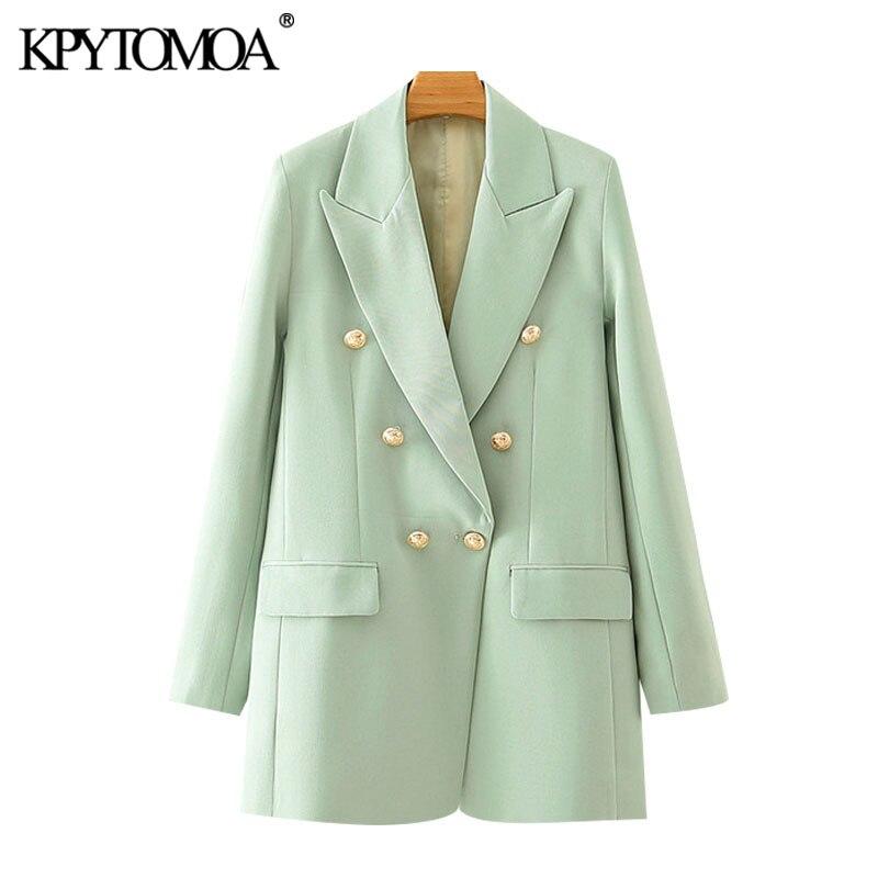 kpytomoa feminino 2020 moda escritorio wear duplo breasted blazer casaco vintage bolsos de manga longa feminino