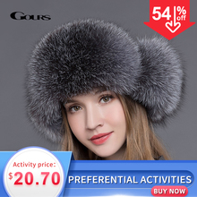 Goursの毛皮の帽子自然アライグマキツネの毛皮ロシアushanka帽子冬厚く暖かい耳ファッション爆撃機キャップ黒新到着