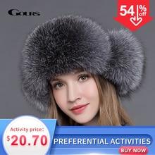 Sombrero de piel de Gours para mujer, sombrero de piel de zorro mapache Natural, sombreros rusos Ushanka, gorro cálido grueso con orejas, gorra Bomber a la moda, color negro