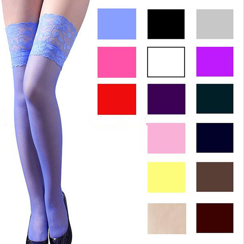 LJCUIYAO High Stockings Women's Lace Sexy Stocking Top Anti-skid Thigh Nightclub Mujer Stockings Female Candy Colors Plus Size