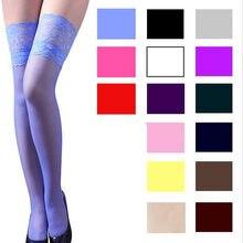 Ljcuiyao meias altas rendas femininas sexy meia superior anti-skid coxa boate mujer meias femininas doces cores mais tamanho