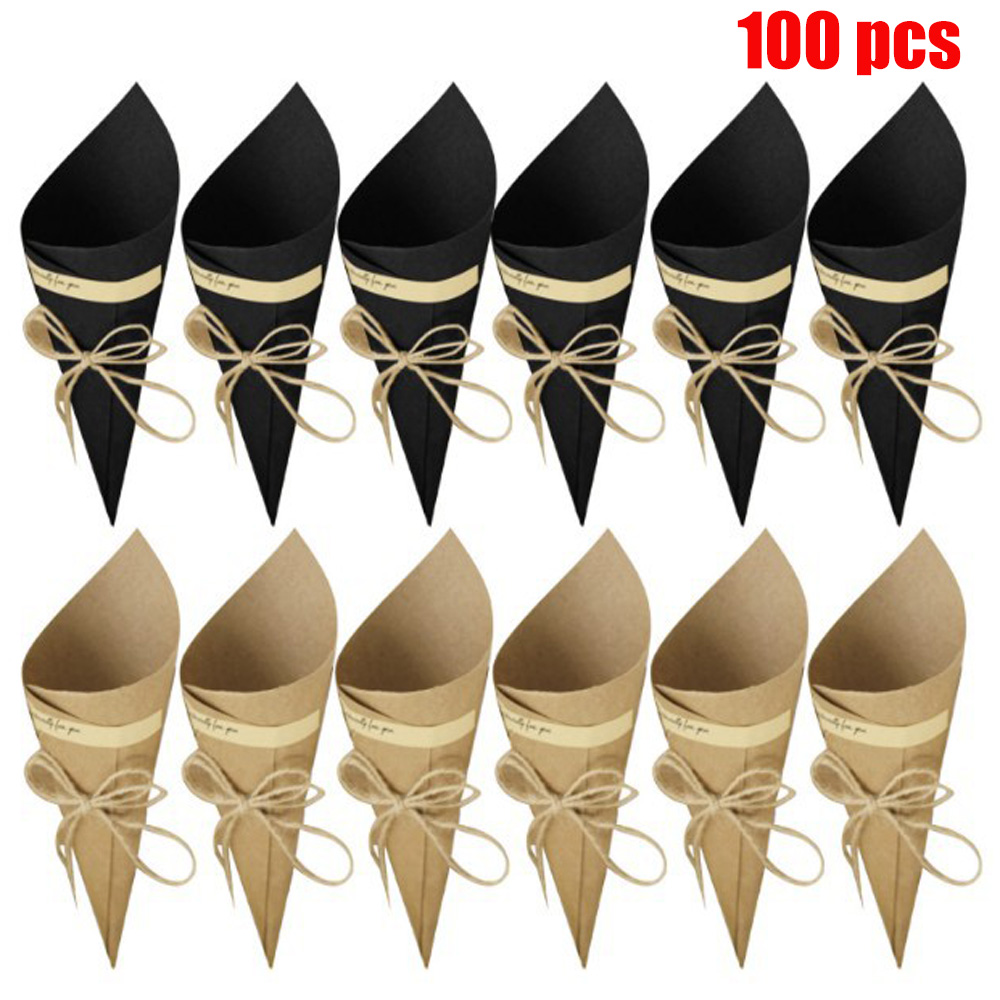 100pcs Novel DIY Retro Kraft Paper Cones Candy Boxes Flower Holder Kraft Paper For Wedding And Party Decoration Gifts Crafting