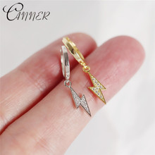 CANNER 2019 New Fashion Jewelry Cubic Zirconia Lightning Pendant Stud Earrings 100% 925 Sterling Silver for Women Gifts