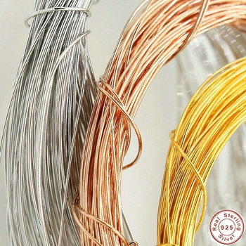 цена на 100cm 925 Sterling Silver Gold/Platinum/Rose Gold Plated Wire for Diy Bracelet Earring Necklace Jewelry Finding
