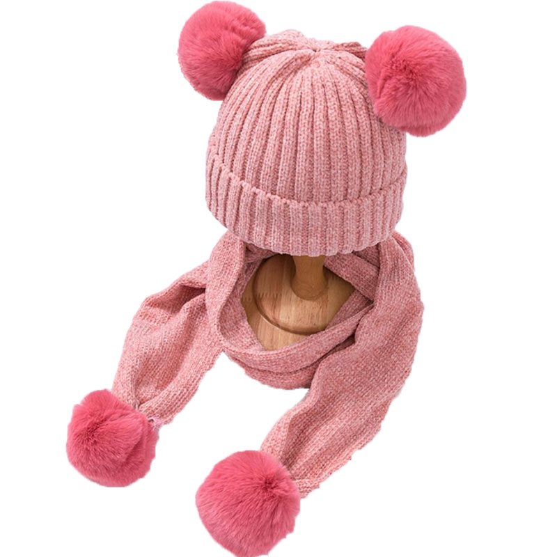 Kids Winter Warm Hat And Scarf Child Ribbed Kintted Hat 2 Piece Set Baby 2019 Girls Boys Ear Protection Cap Pom Pom Scarves 0-3T