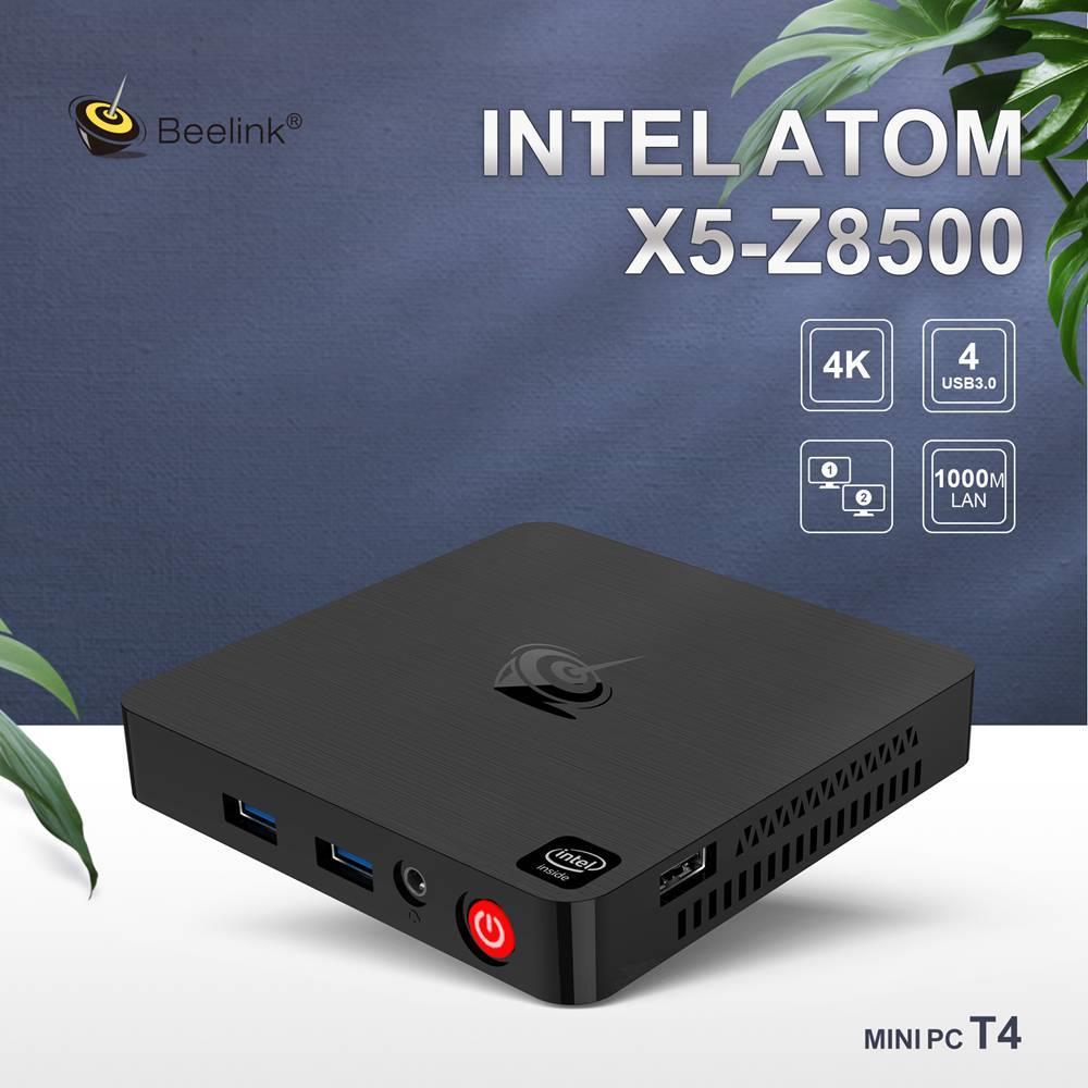 Beelink T4 MINI PC Intel Atom X5-Z8500 Windows 10 MINI PC 4GB/64GB HDMI+DP USB3.0 2.4G/5G WIFI Bluetooth 1000Mbps LAN