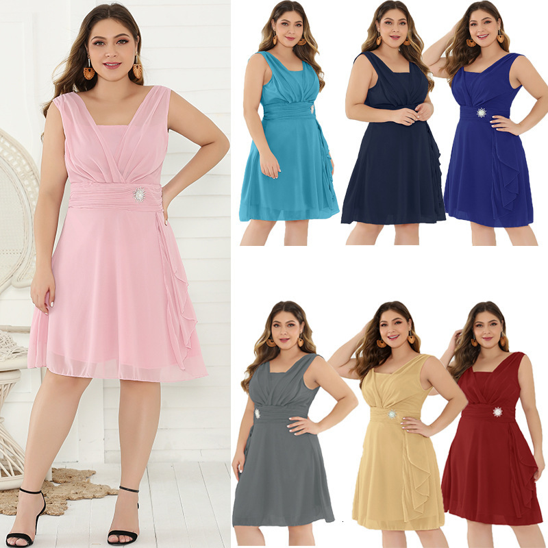 BacklakeGirls 2019 Chiffon V Neck Solid Color Mother Of The Bride Dress Plus Size Sleeveless Knee-length For Wedding Party