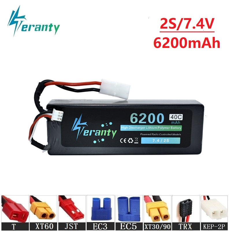 Teranty Power 7.4v 6200maH 40C <font><b>Lipo</b></font> Batterry For RC Drone Boat Quodcopter Spare Parts <font><b>2s</b></font> <font><b>6000mah</b></font> 7.4v Batteries T/XT60 Plug image
