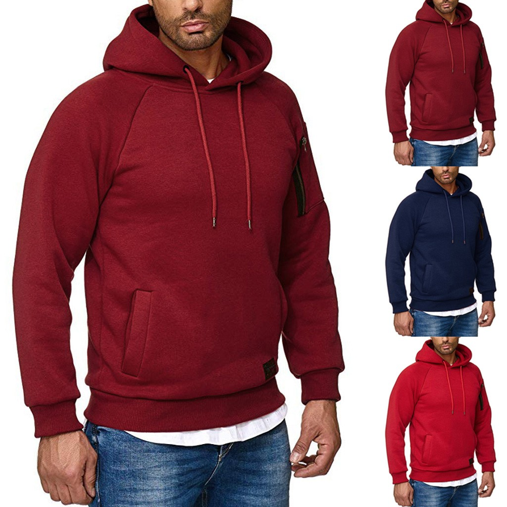 Men Hoodies Streetwear Casual Solid hip hop Zipper Hoodie Sweatshirt With Pockets Pullover Streetwear Male Clothes high quality