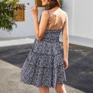 Image 5 - Simplee seksowna dekolt w serek letnia sukienka damska kwiatowy print bez rękawów potargane sukienka boho wysokiej talii pasek damski bawełniana sukienka boho 2020