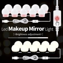 12 В Настольный зеркальный светильник для макияжа, адаптер ЕС и США, голливудская Косметическая лампа, светодиодный туалетный столик, 10 лампочек в комплекте, USB 220 В, лампа для макияжа с регулируемой яркостью